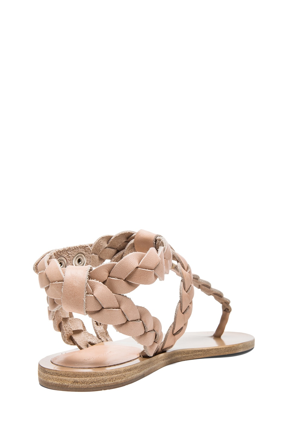 Image 3 of Isabel Marant Brina Braided Calfskin Leather Sandals in Nude