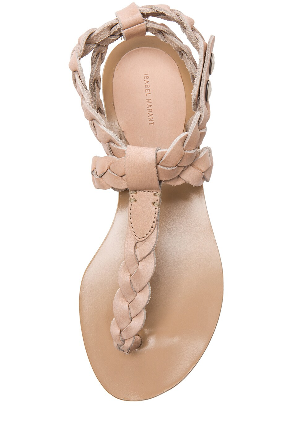 Image 4 of Isabel Marant Brina Braided Calfskin Leather Sandals in Nude