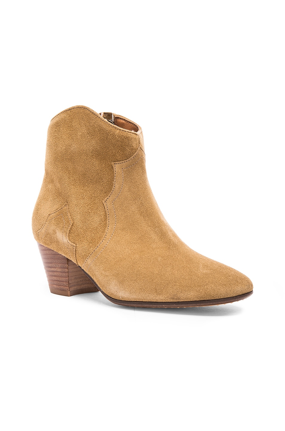 Image 2 of Isabel Marant Dicker Velvet Booties in Camel