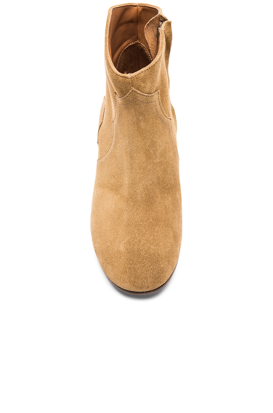 Image 4 of Isabel Marant Dicker Velvet Booties in Camel