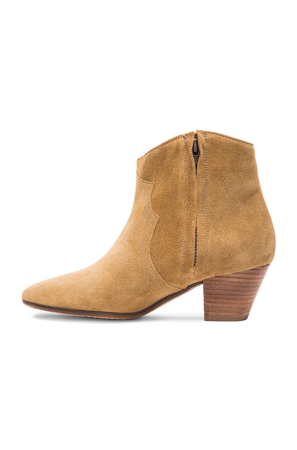 Image 5 of Isabel Marant Dicker Velvet Booties in Camel