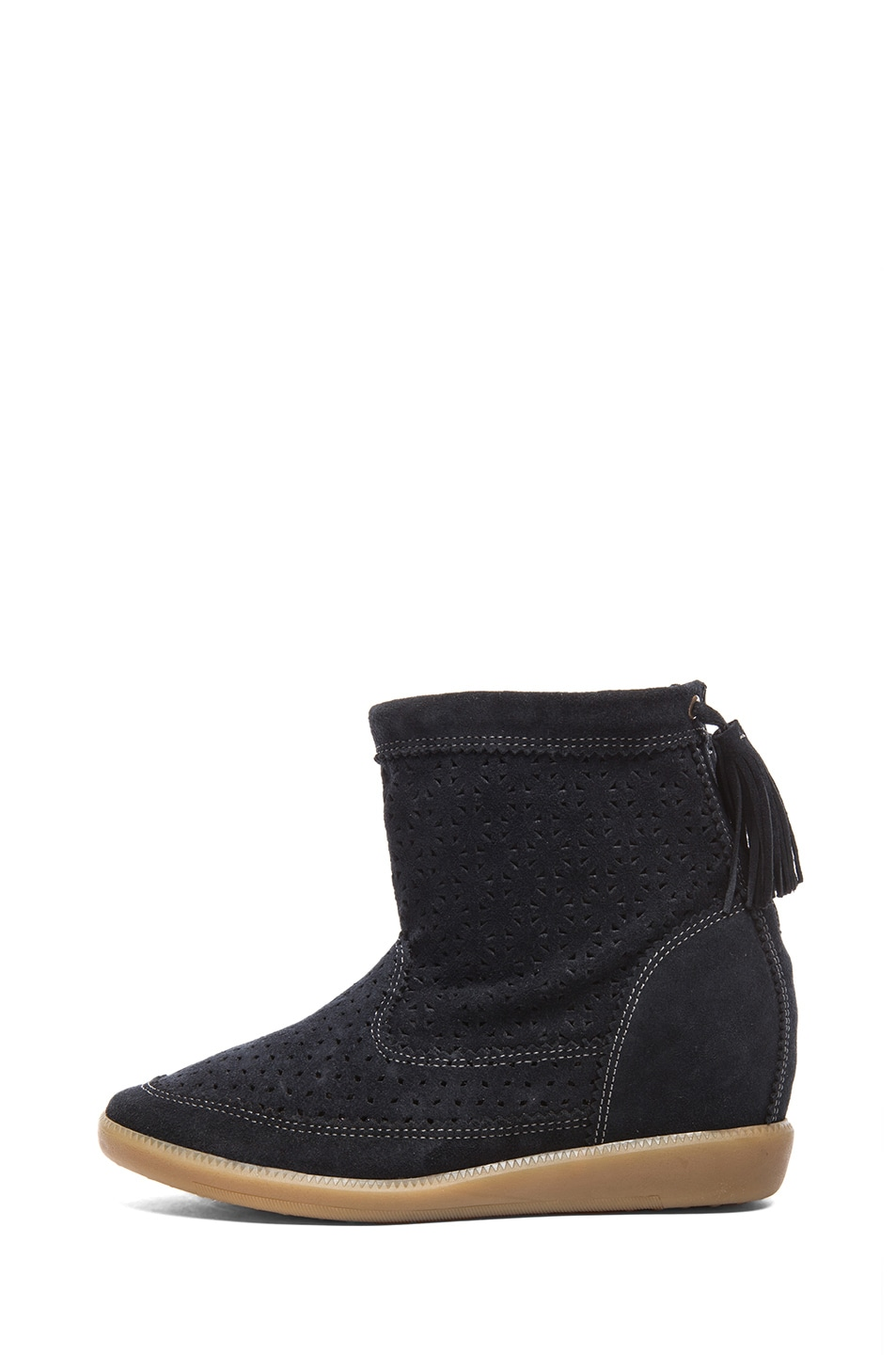 Image 1 of Isabel Marant Beslay Calfskin Velvet Leather Boots in Anthracite