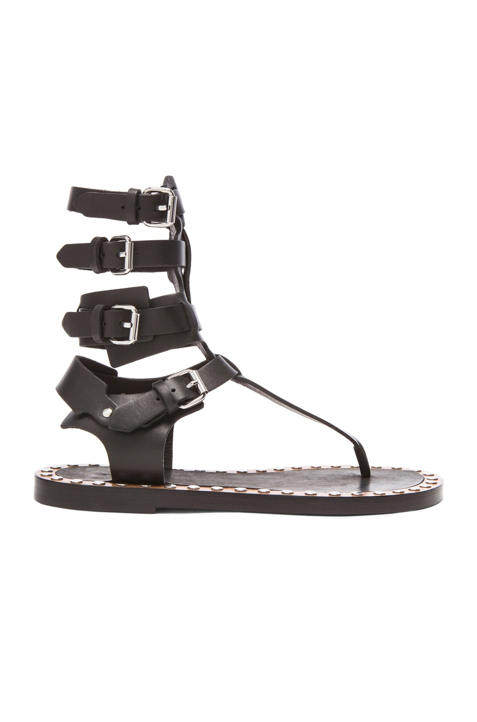 Image 1 of Isabel Marant Jeepy Circus Maximus Calfskin Leather Sandals in Black