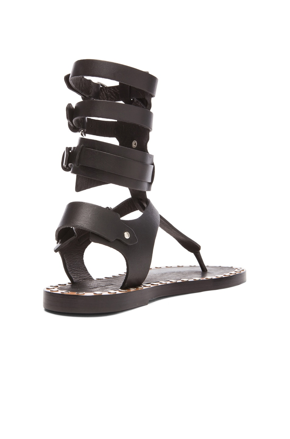 Image 3 of Isabel Marant Jeepy Circus Maximus Calfskin Leather Sandals in Black