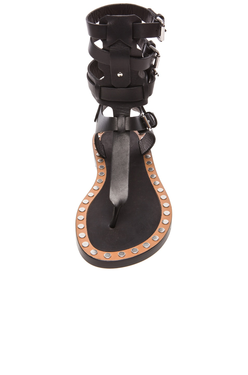 Image 4 of Isabel Marant Jeepy Circus Maximus Calfskin Leather Sandals in Black