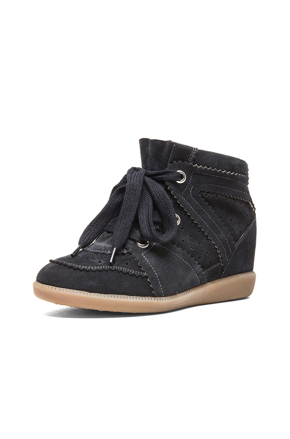 Image 2 of Isabel Marant Bobby Calfkin Velvet Leather Sneakers in Anthracite