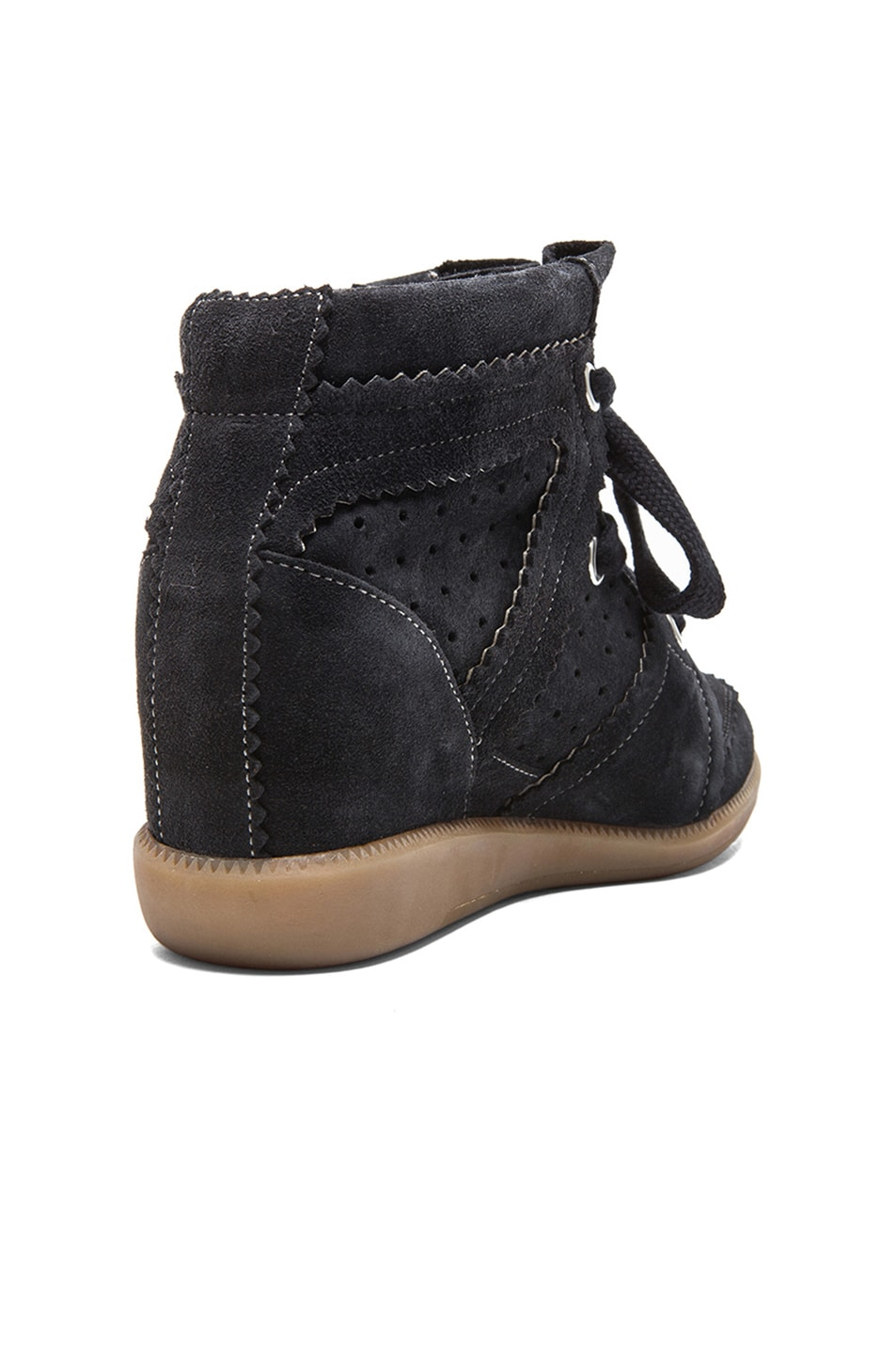 Image 3 of Isabel Marant Bobby Calfkin Velvet Leather Sneakers in Anthracite