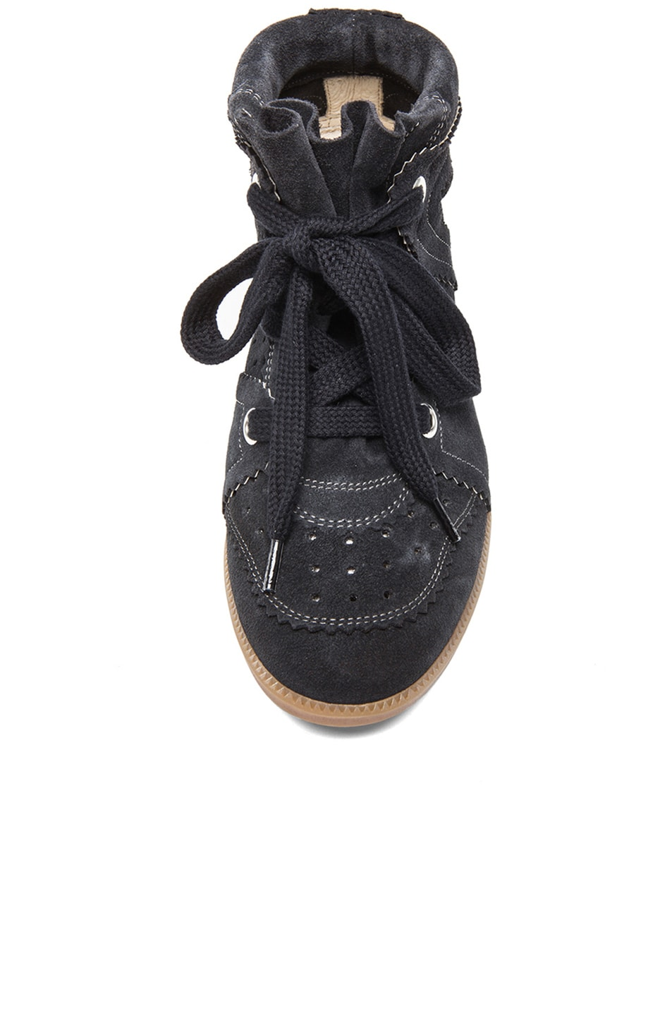 Image 4 of Isabel Marant Bobby Calfkin Velvet Leather Sneakers in Anthracite