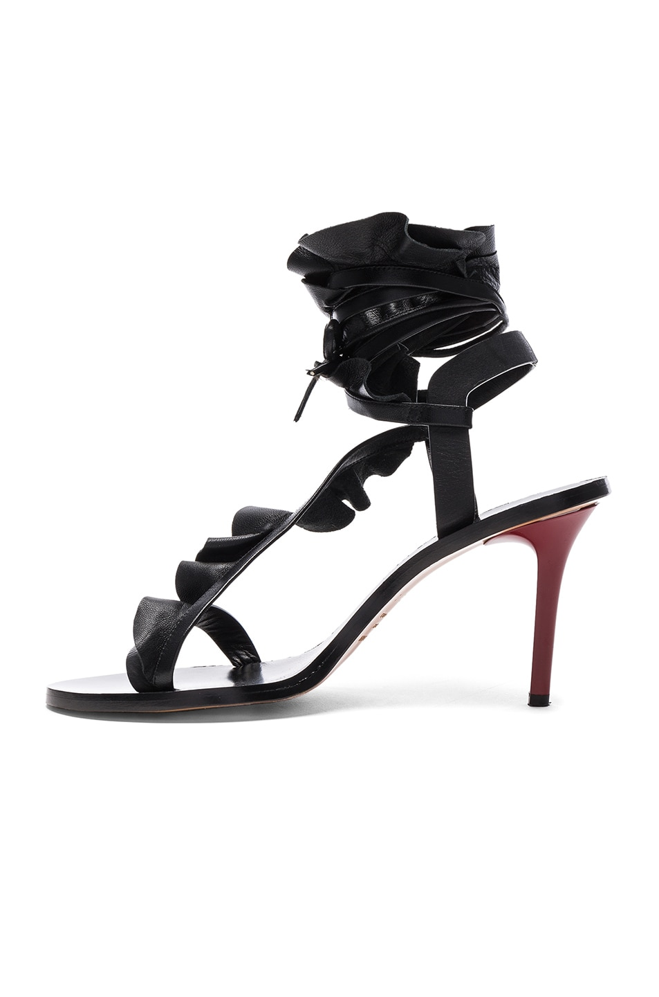 Image 5 of Isabel Marant Leather Ansel Heels in Black