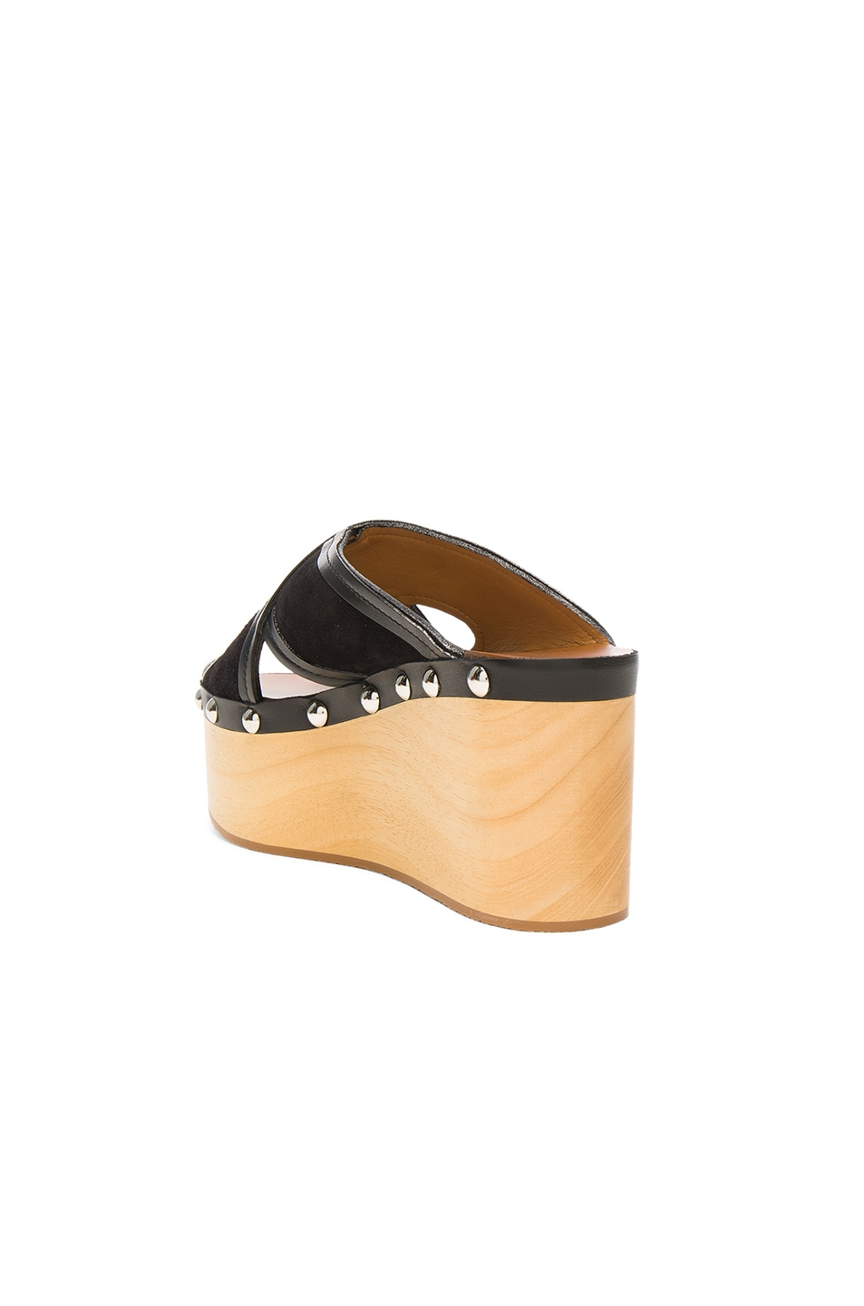 Image 3 of Isabel Marant Suede Zipla Wedge Sandals in Black