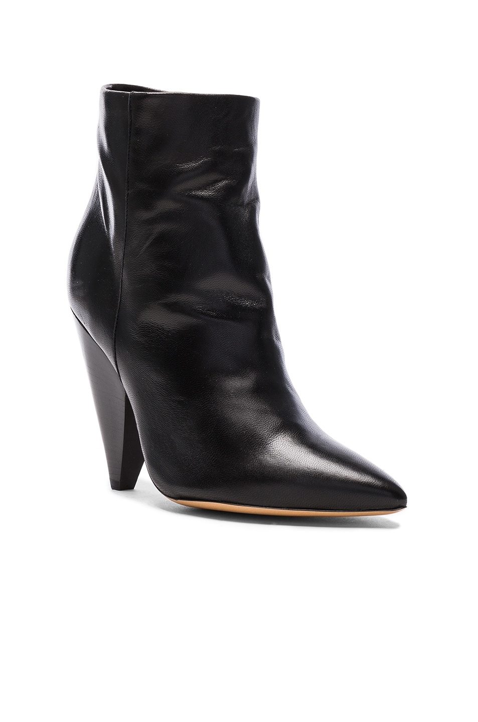Image 2 of Isabel Marant Leather Leydoni Booties in Black