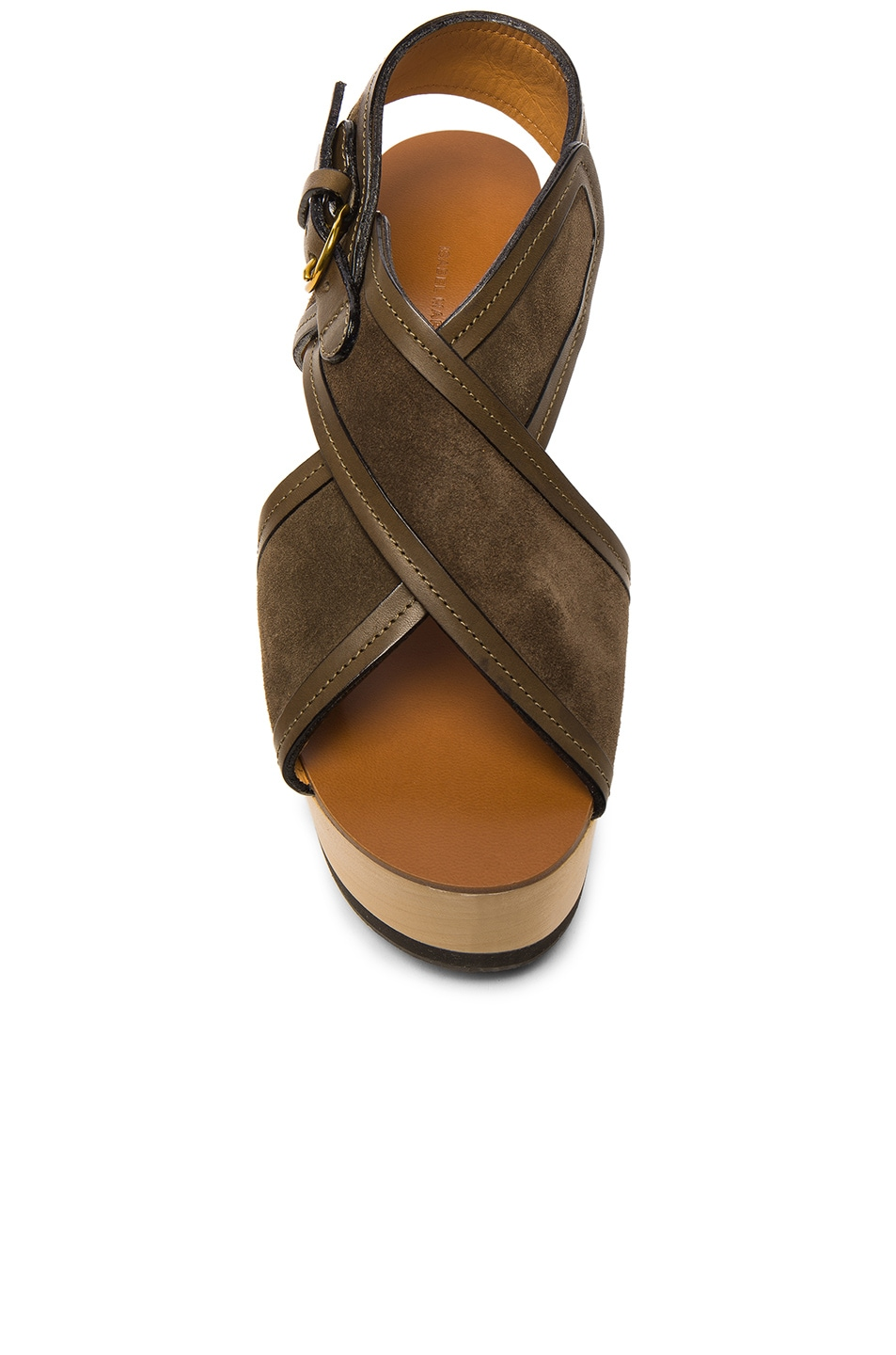 Image 4 of Isabel Marant Suede Zlova Wedge Sandals in Bronze