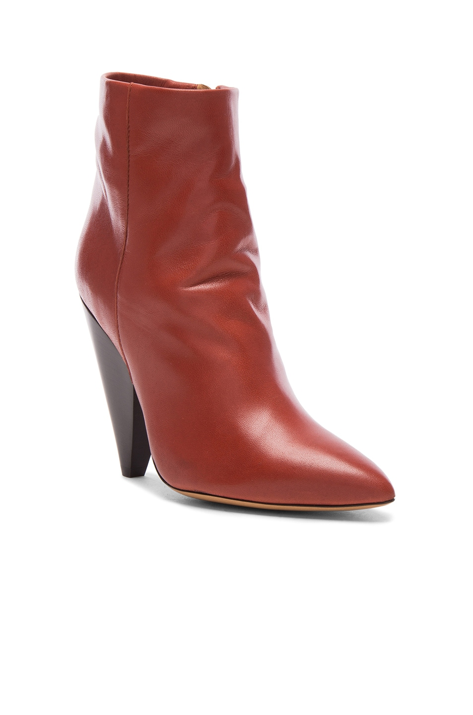 Image 2 of Isabel Marant Leather Leydoni Booties in Rust