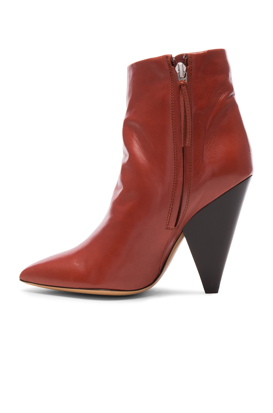 Image 5 of Isabel Marant Leather Leydoni Booties in Rust