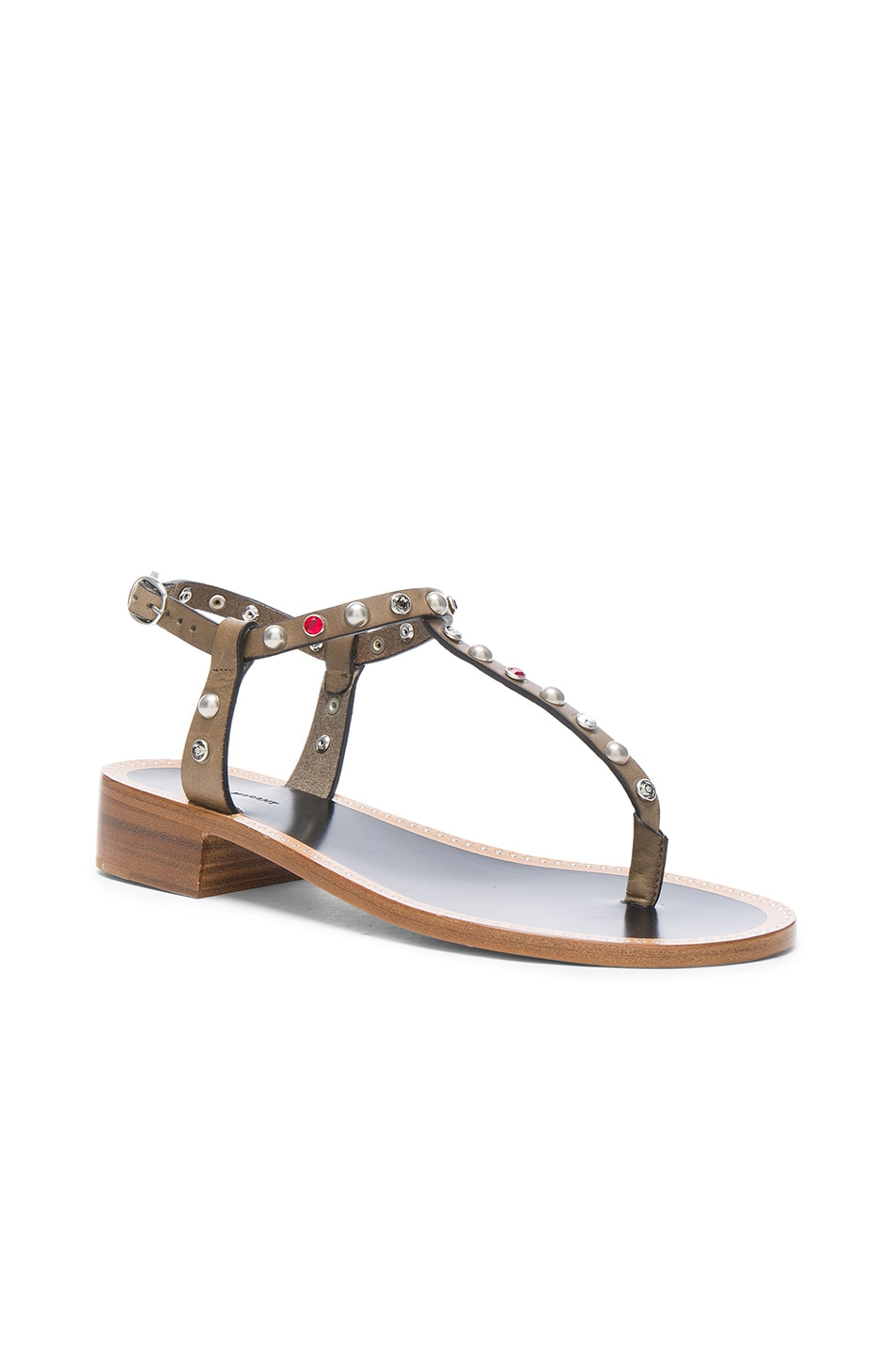 Image 2 of Isabel Marant Leather Aelith Sandals in Bronze