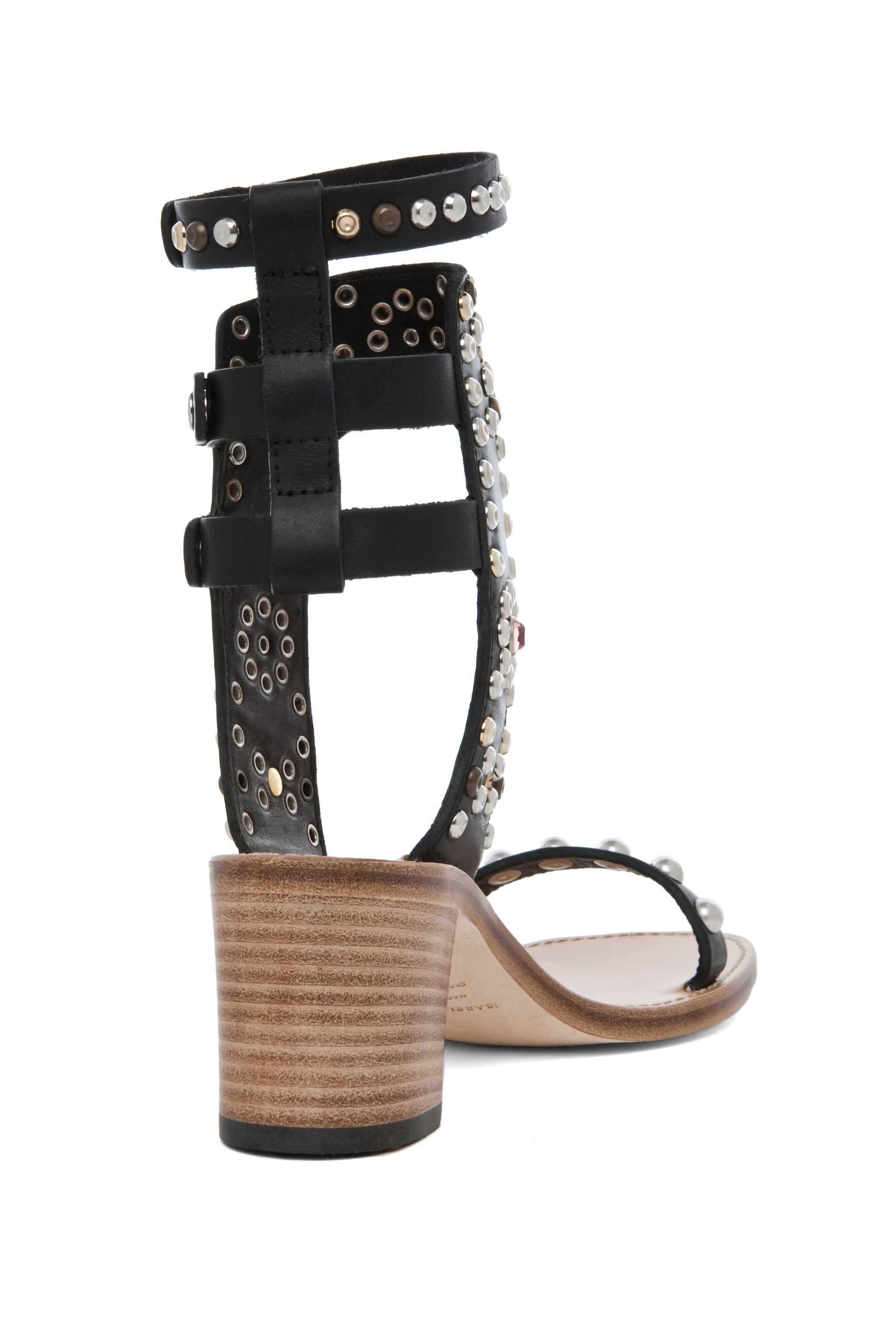 Image 3 of Isabel Marant Caroll Strassed and Studded Sandals in Black