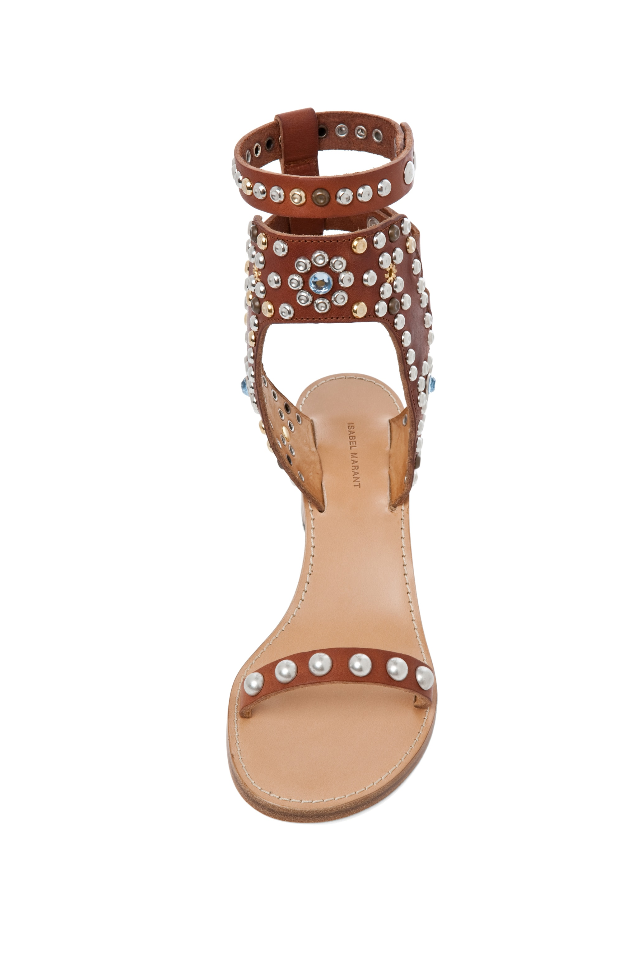 Image 4 of Isabel Marant Caroll Strassed and Studded Sandal in Cognac