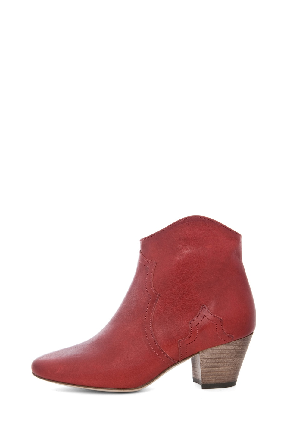 Image 1 of Isabel Marant Dicker Leather Bootie in Bordeaux