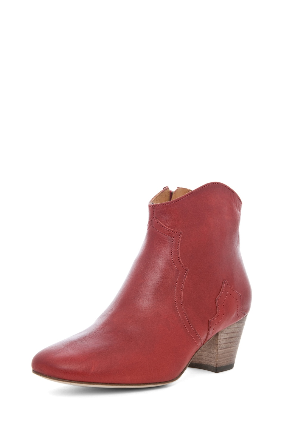 Image 2 of Isabel Marant Dicker Leather Bootie in Bordeaux