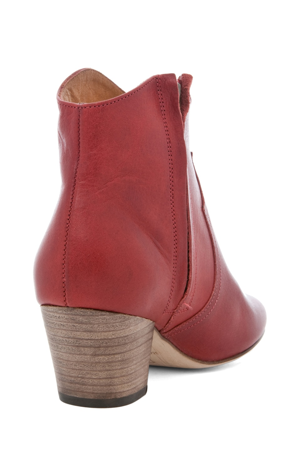 Image 3 of Isabel Marant Dicker Leather Bootie in Bordeaux