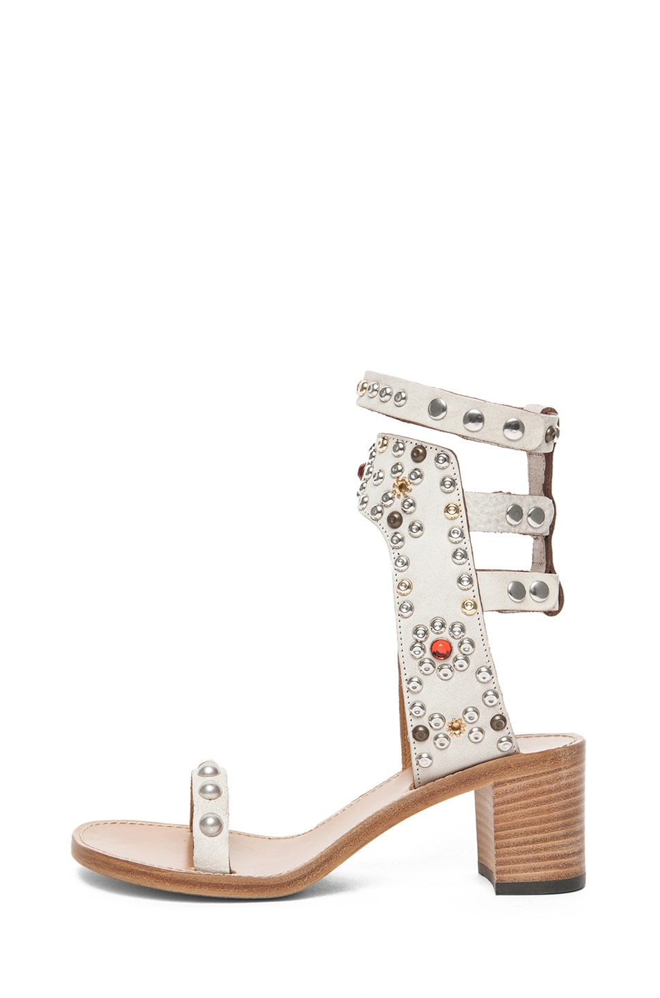 Image 1 of Isabel Marant Caroll Strassed and Studded Sandal in Craie