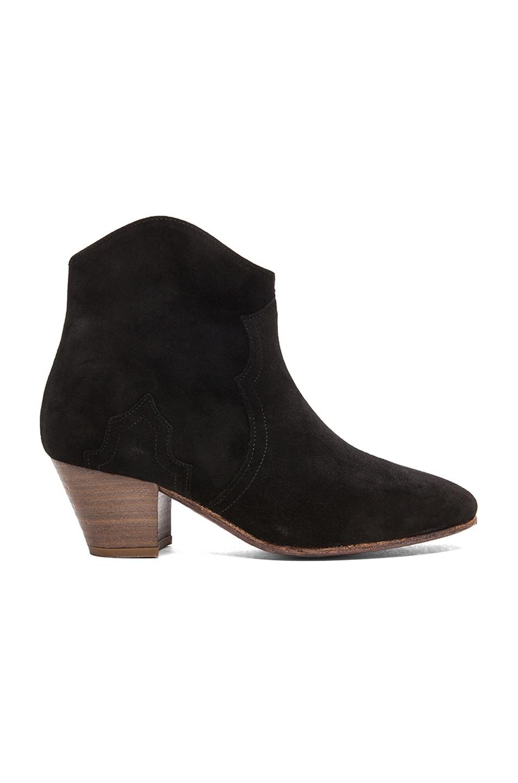 Image 1 of Isabel Marant Dicker Calfskin Velvet Leather Boots in Black