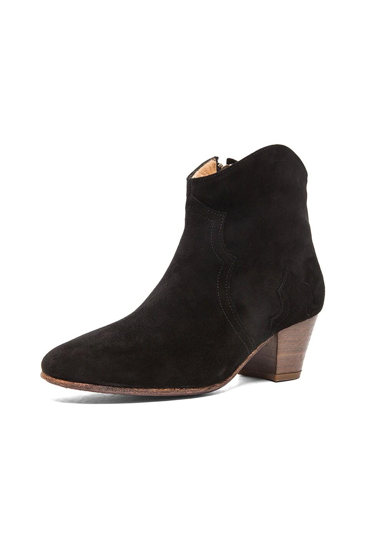 Image 2 of Isabel Marant Dicker Calfskin Velvet Leather Boots in Black