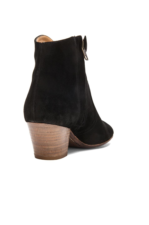 Image 3 of Isabel Marant Dicker Calfskin Velvet Leather Boots in Black