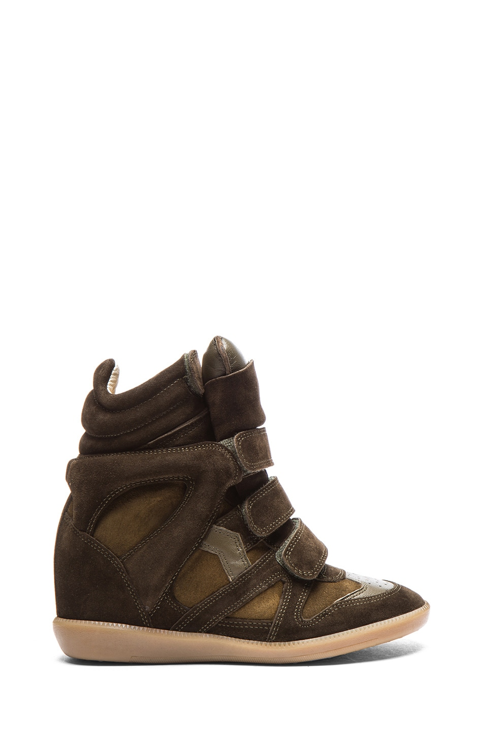 Image 1 of Isabel Marant Bekett Calfskin Velvet Leather Wedge Sneakers in Khaki