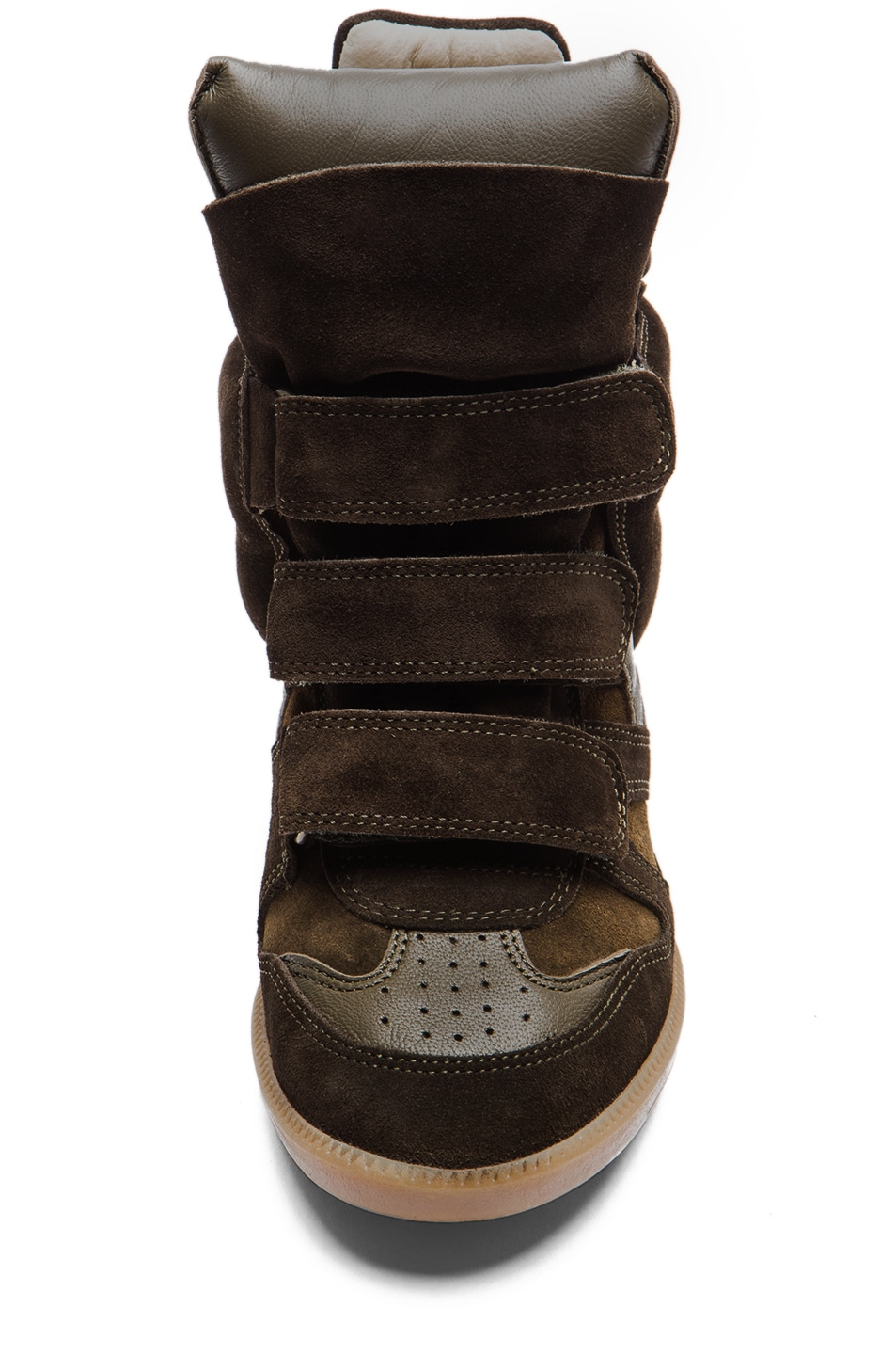 Image 4 of Isabel Marant Bekett Calfskin Velvet Leather Wedge Sneakers in Khaki