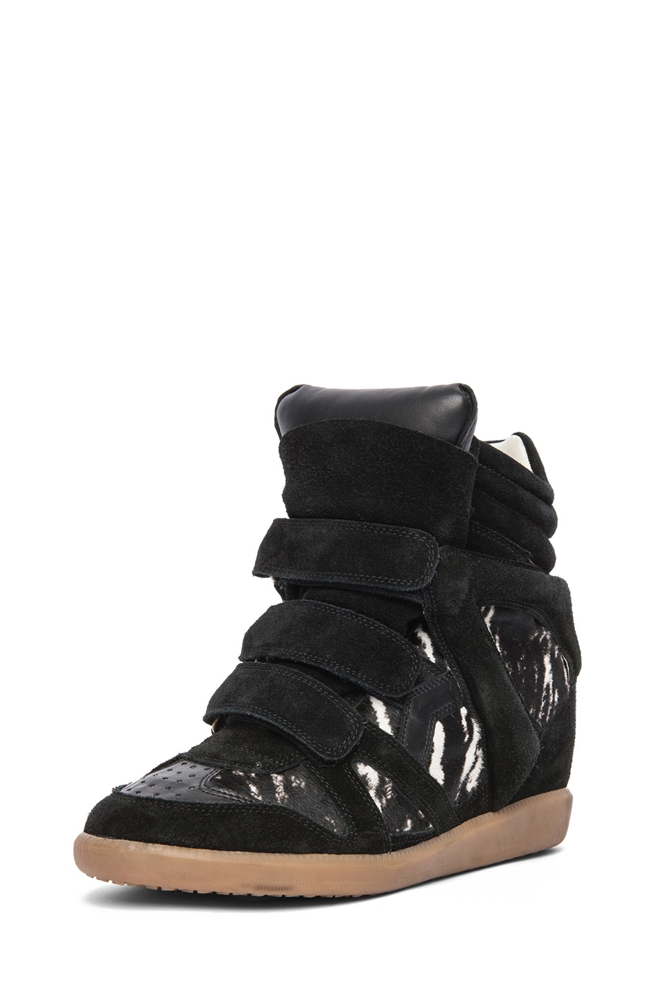 Image 2 of Isabel Marant Benett Calfskin Velvet Leather Pony Sneakers in Anthracite