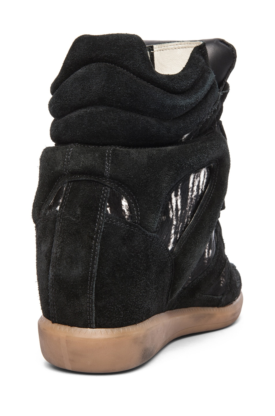 Image 3 of Isabel Marant Benett Calfskin Velvet Leather Pony Sneakers in Anthracite