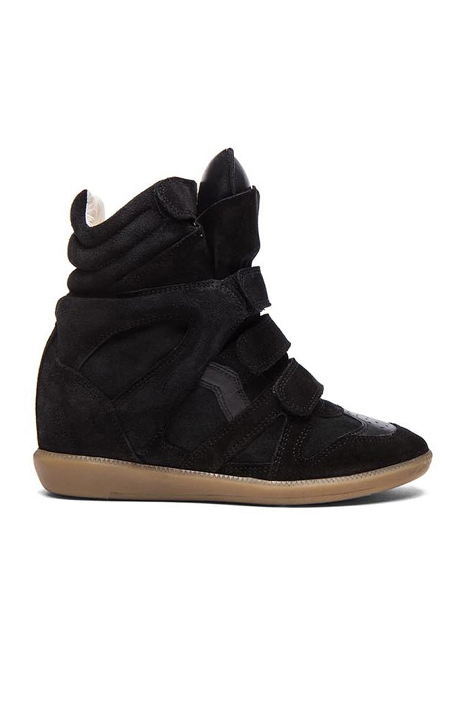 Image 1 of Isabel Marant Bekett Calfskin Velvet Leather Sneakers in Faded Black