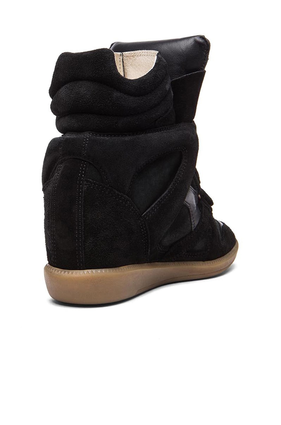 Image 3 of Isabel Marant Bekett Calfskin Velvet Leather Sneakers in Faded Black