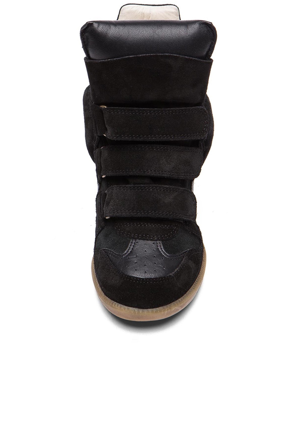 Image 4 of Isabel Marant Bekett Calfskin Velvet Leather Sneakers in Faded Black