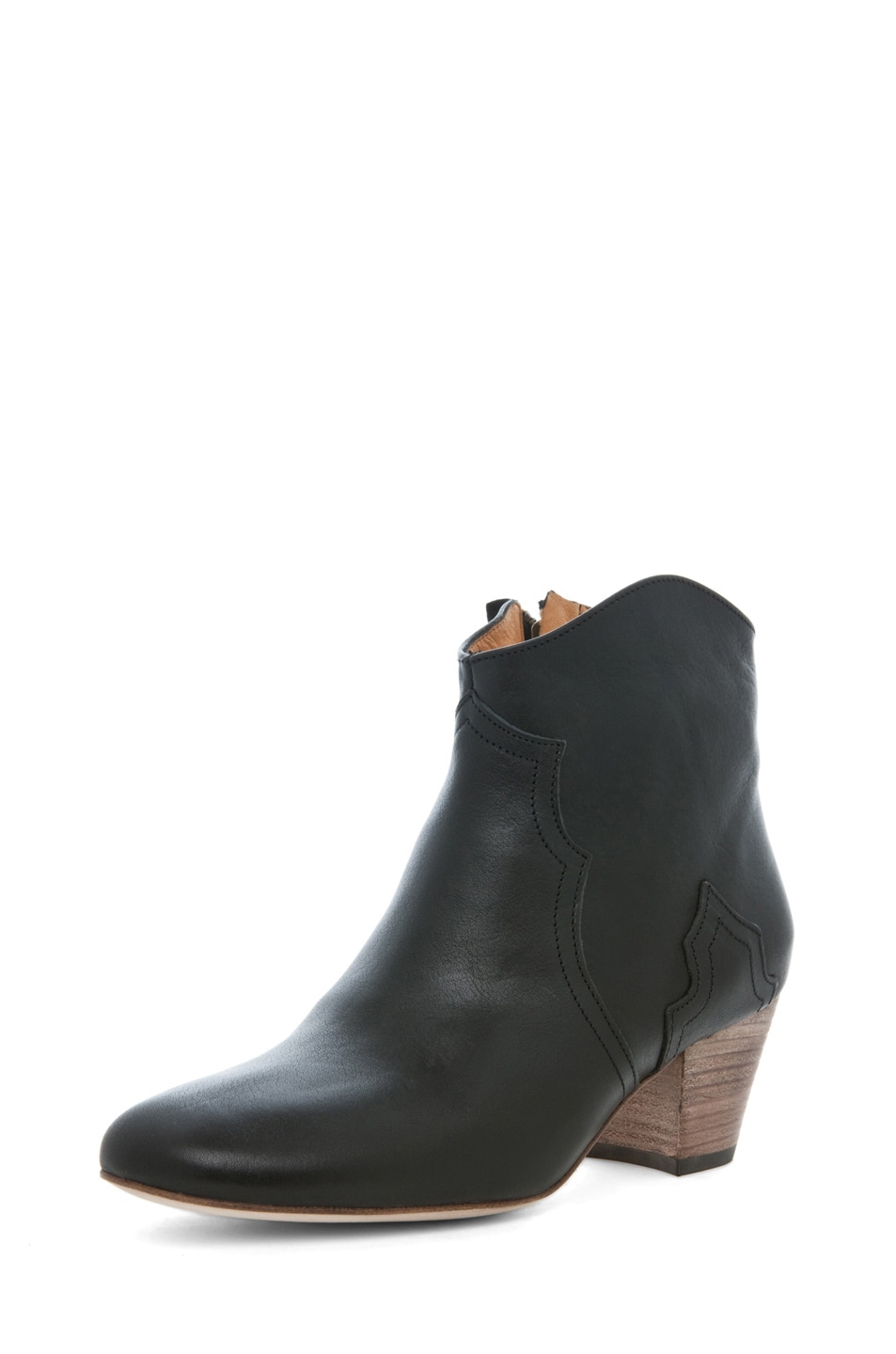 Image 2 of Isabel Marant Dicker Leather Bootie in Noir