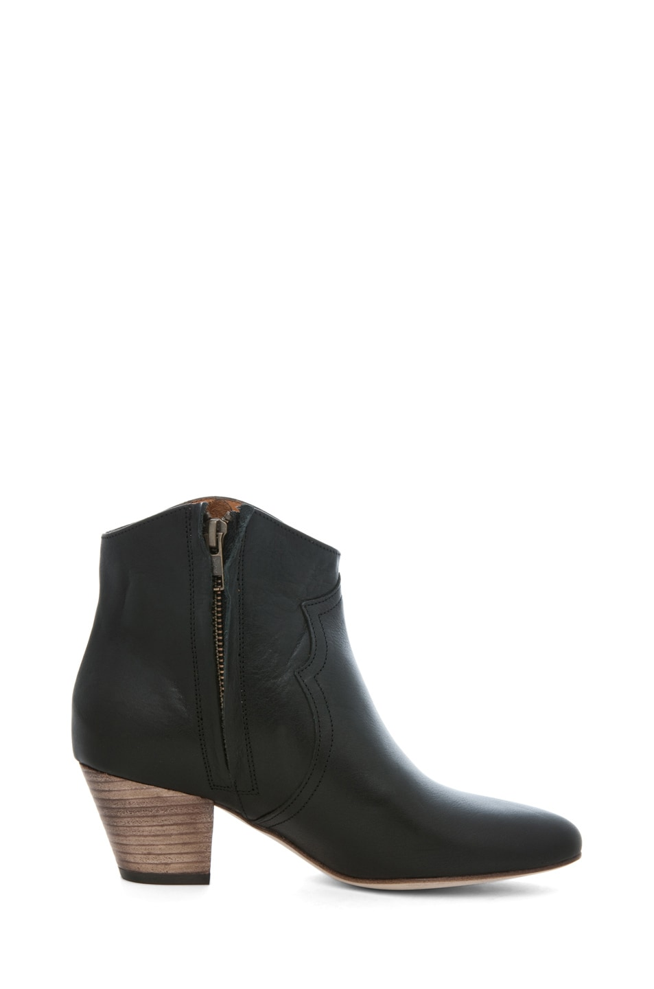Image 5 of Isabel Marant Dicker Leather Bootie in Noir