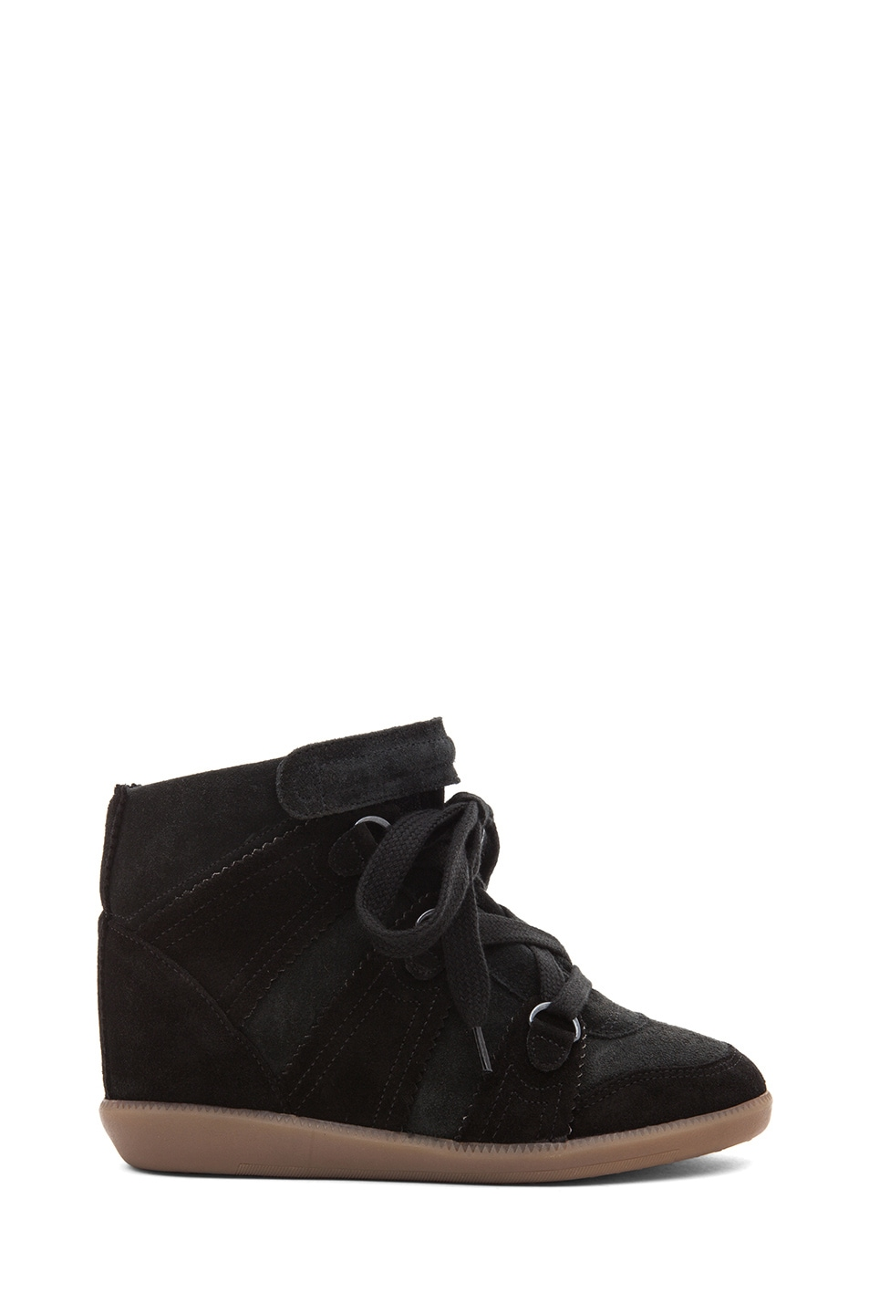 Image 1 of Isabel Marant Bluebel Calfskin Velvet Leather Sneaker in Faded Black