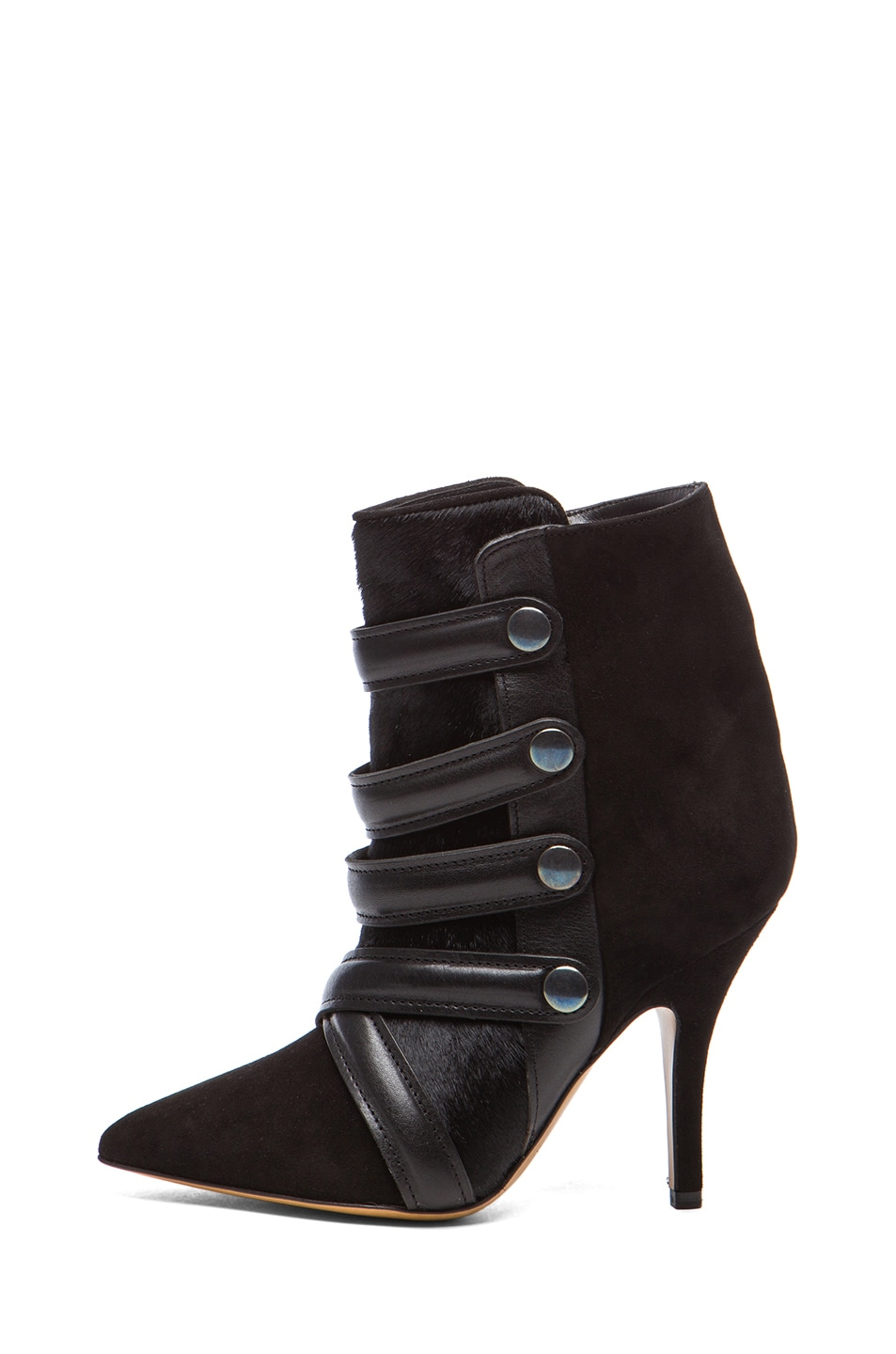 Image 1 of Isabel Marant Tacy Goat Suede Leather Pony Booties in Black