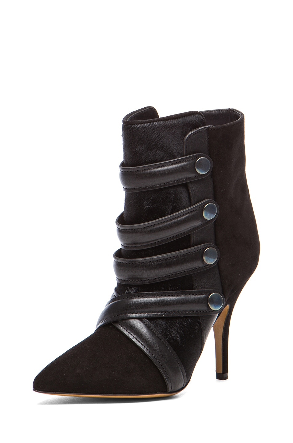 Image 2 of Isabel Marant Tacy Goat Suede Leather Pony Booties in Black