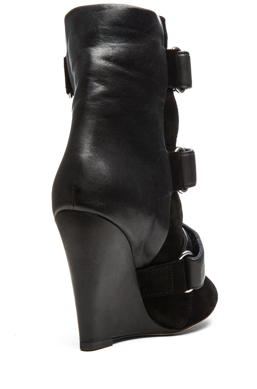 Image 3 of Isabel Marant Scarlet Calfskin Suede Leather Wedge Booties in Black