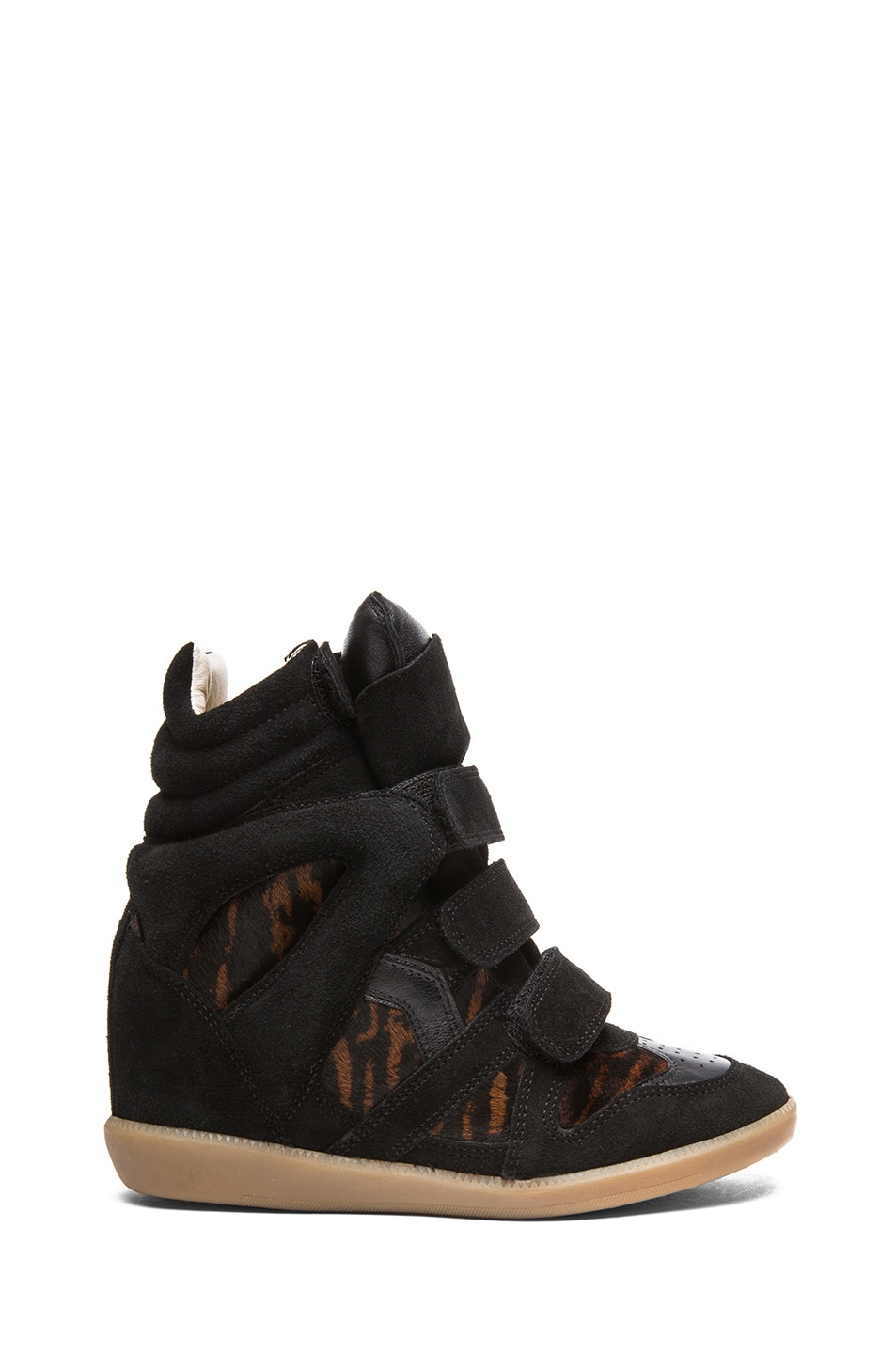 Image 1 of Isabel Marant Benett Calfskin Velvet Leather Pony Sneakers in Fauve