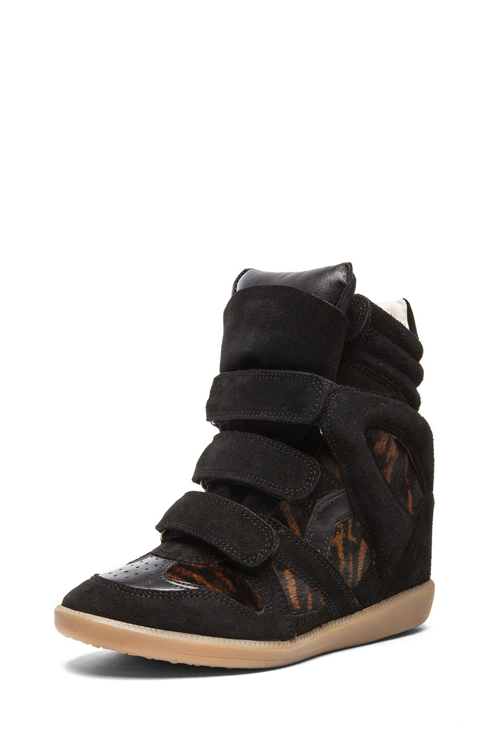 Image 2 of Isabel Marant Benett Calfskin Velvet Leather Pony Sneakers in Fauve