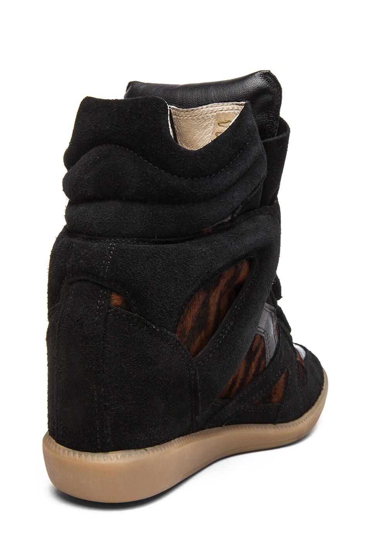 Image 3 of Isabel Marant Benett Calfskin Velvet Leather Pony Sneakers in Fauve