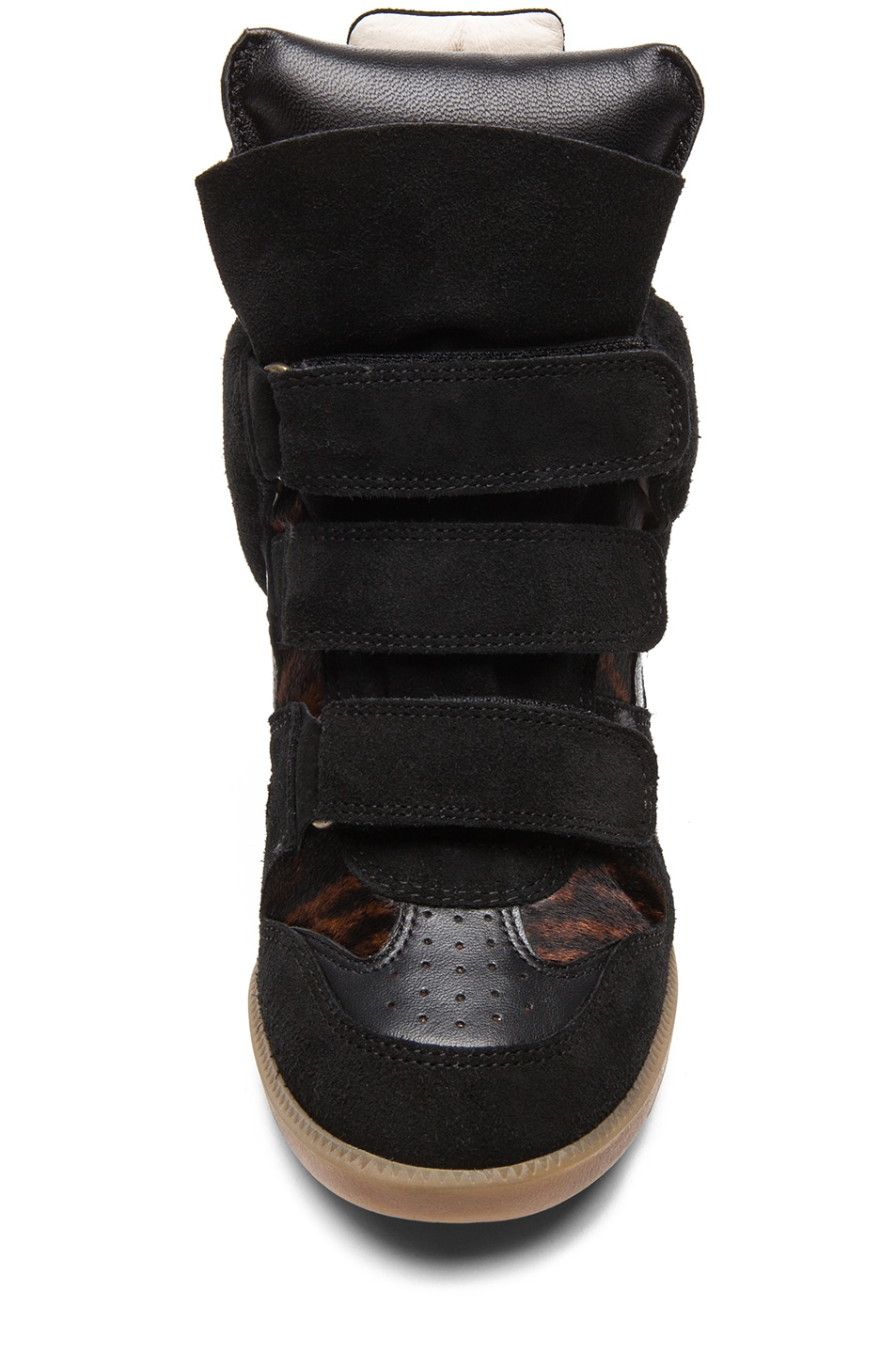 Image 4 of Isabel Marant Benett Calfskin Velvet Leather Pony Sneakers in Fauve