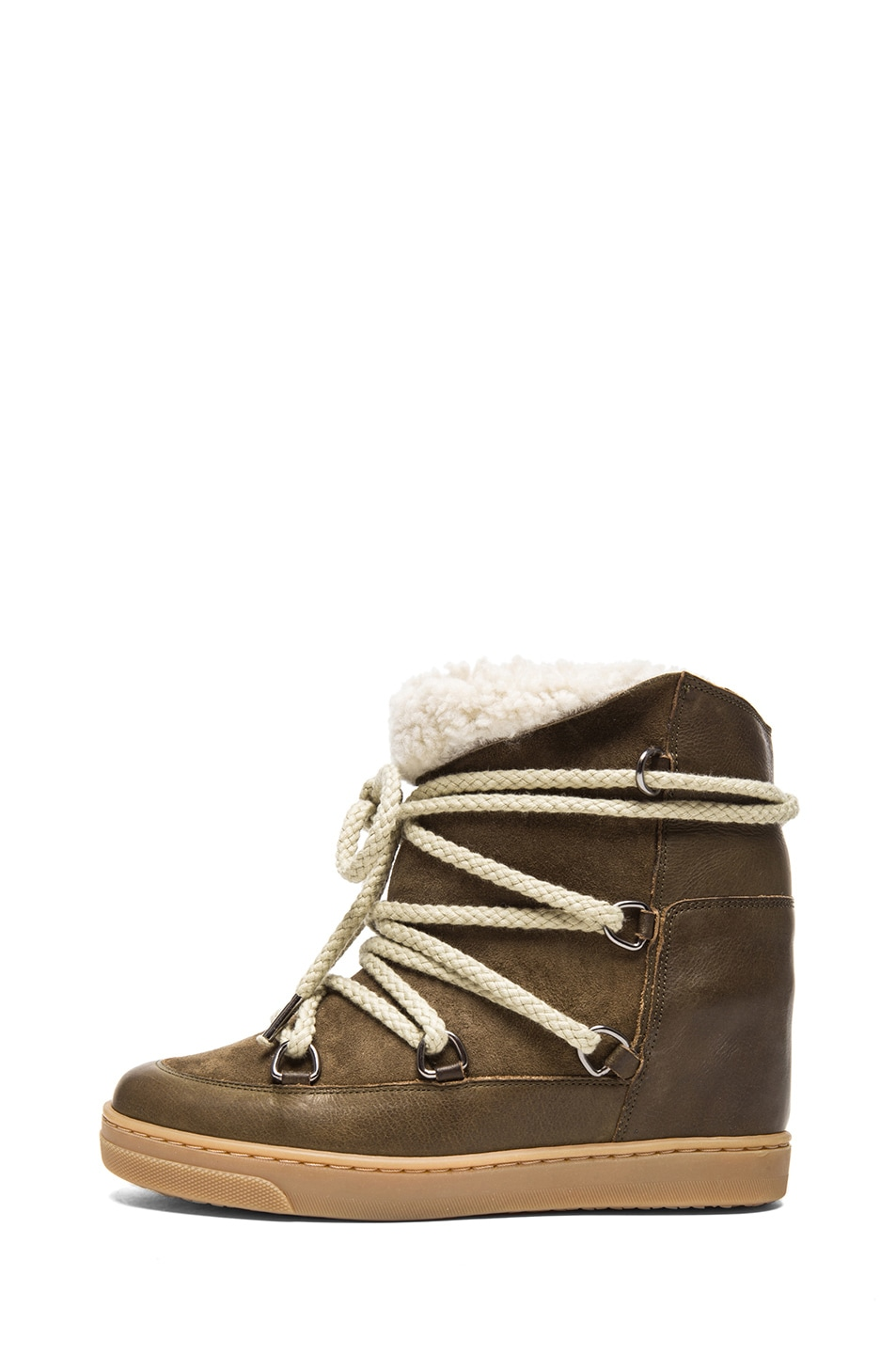 Image 1 of Isabel Marant Nowles Shearling & Calfskin Leather Boots in Khaki