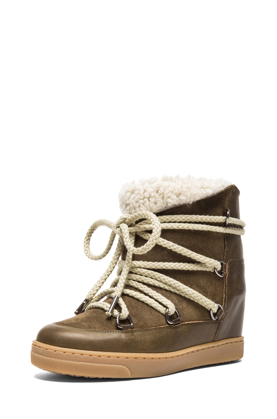Image 2 of Isabel Marant Nowles Shearling & Calfskin Leather Boots in Khaki