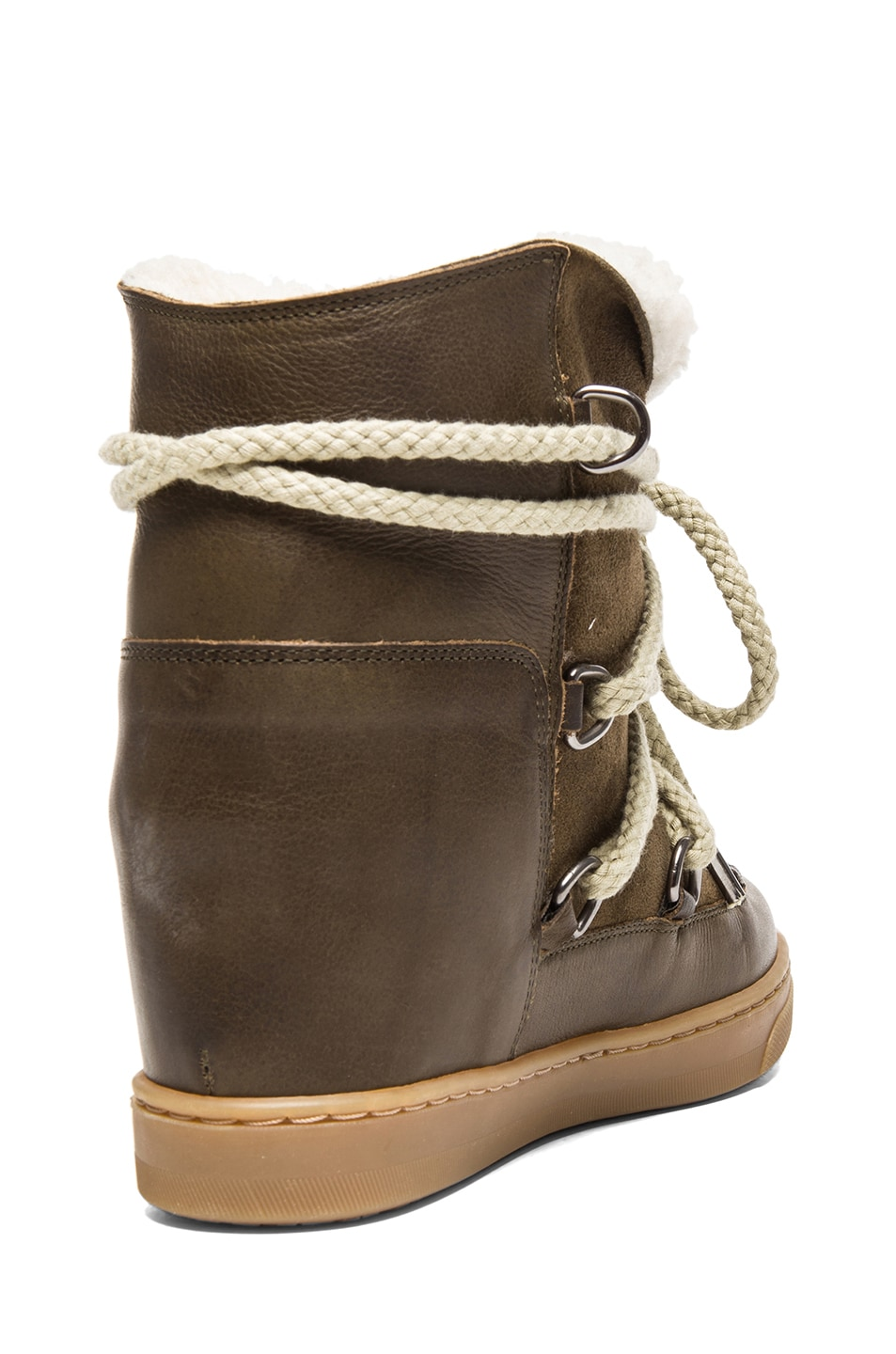 Image 3 of Isabel Marant Nowles Shearling & Calfskin Leather Boots in Khaki