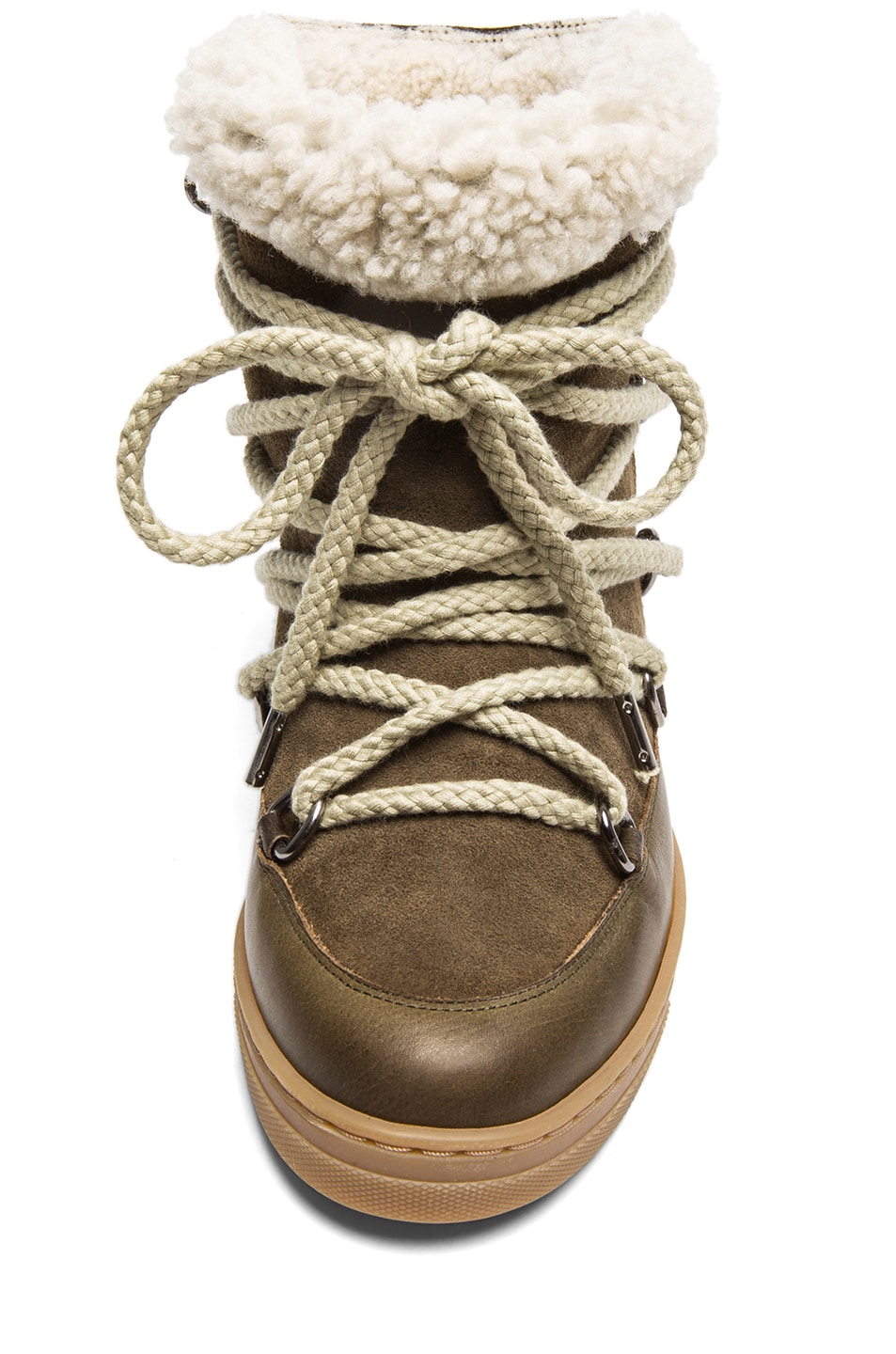Image 4 of Isabel Marant Nowles Shearling & Calfskin Leather Boots in Khaki