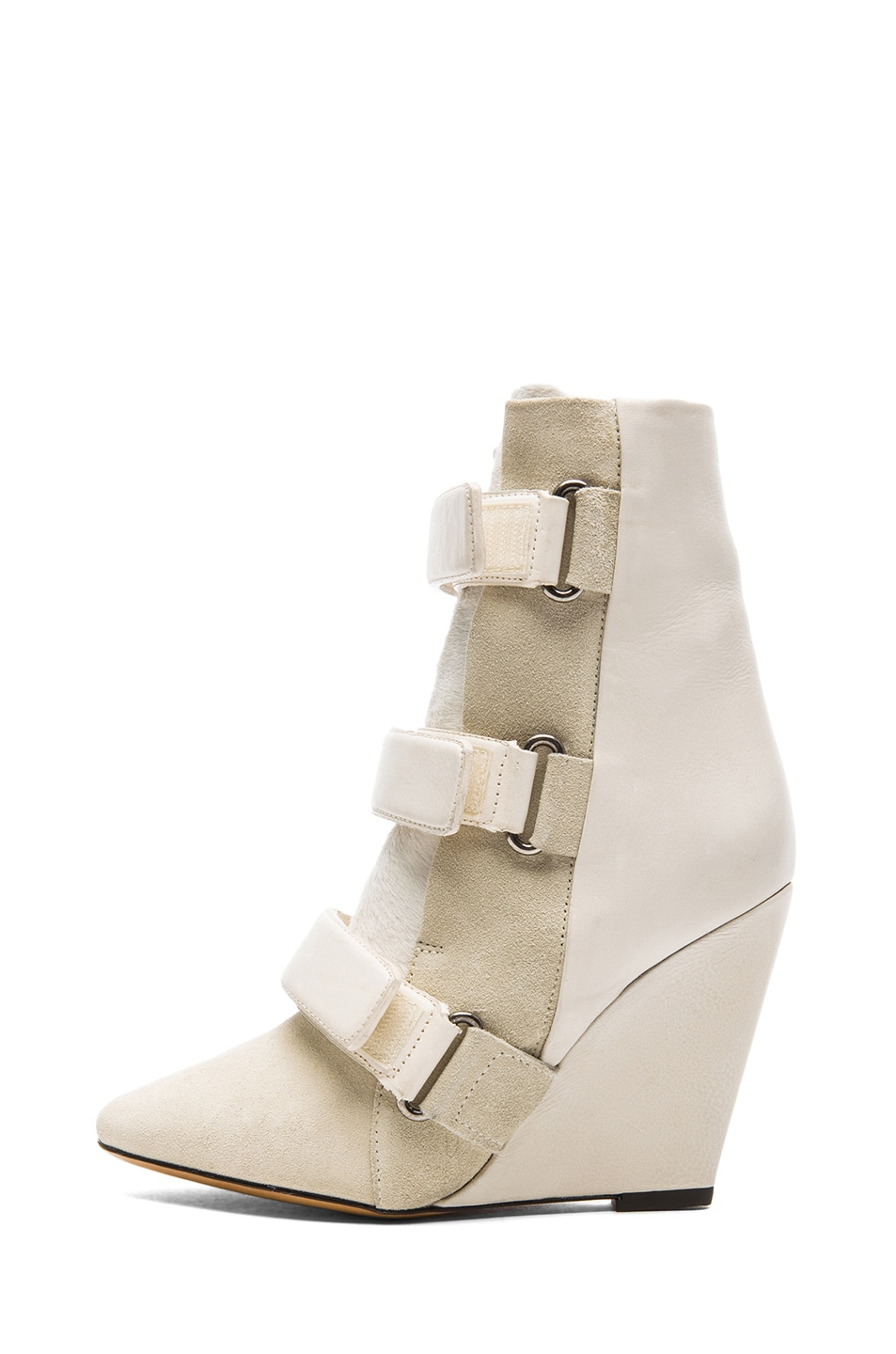 Image 1 of Isabel Marant Scarlet Calfskin Suede Leather Wedge Booties in Ecru